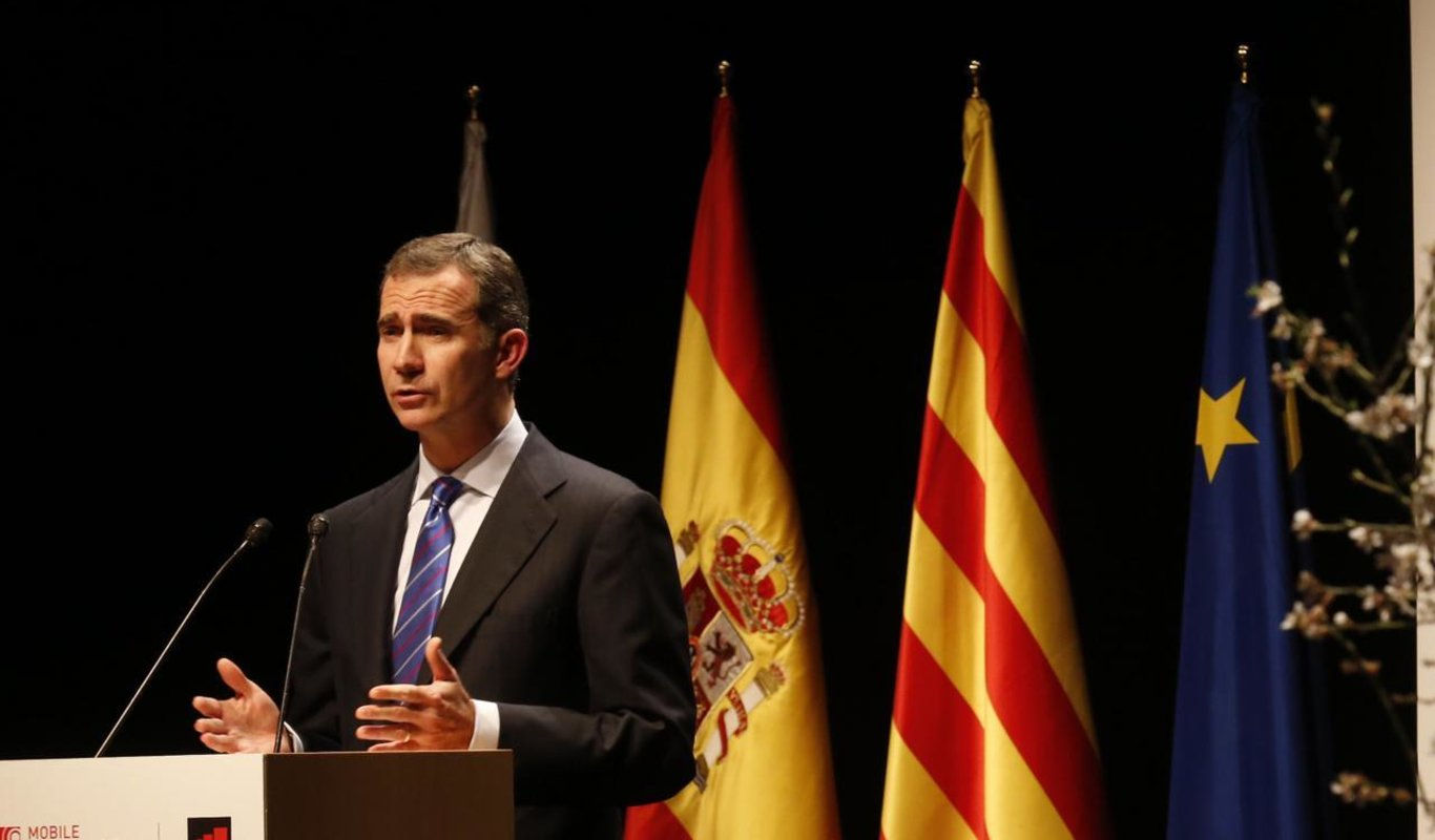 Felipe VI interviene en la cena inaugural del Mobile World Congress de Barcelona.