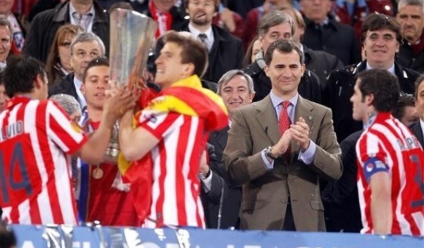 Don Felipe en una final de Europa League que ganó el Atlético de Madrid.